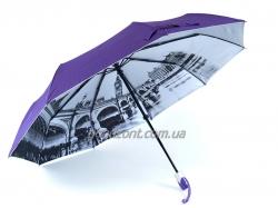 Автоматический зонт с городами под куполом на серебристом фоне
